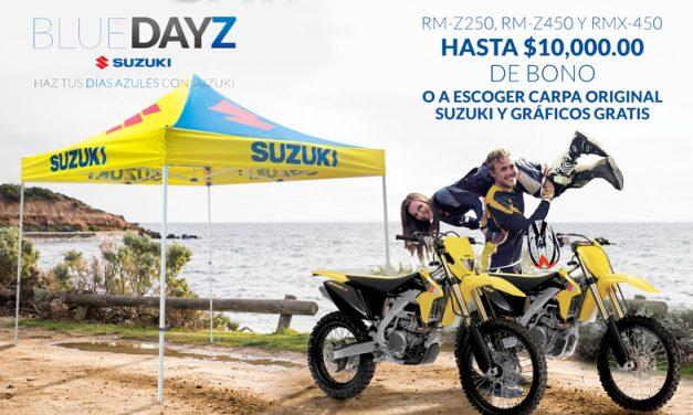 ¡Promoción Blue Days Suzuki en modelos Cross y Enduro con un bono de hasta $10,000.00  o carpa original Suzuki y gráficos gratis!