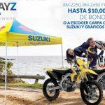 ¡Promoción Blue Days Suzuki en modelos Cross y Enduro con un bono de hasta $10,000.00 o una carpa original Suzuki y gráficos gratis!