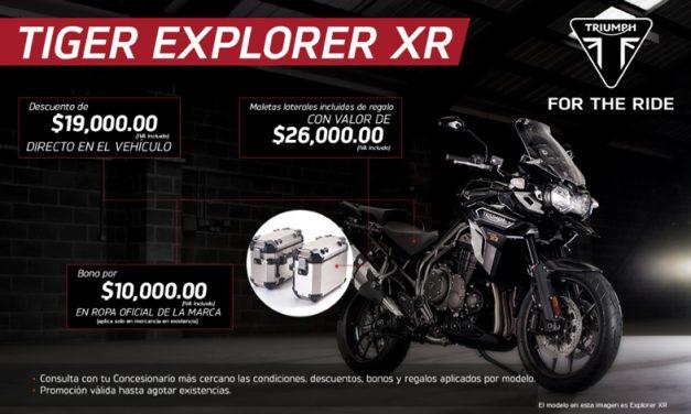 Para los viajeros intrépidos, la Triumph Tiger Explorer XR viene en promoción