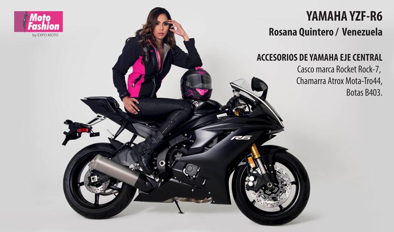 La imponente YZF-R6 de Yamaha hace juego con Rosana Quintero, una simpática venezolana que compite por el título Moto Fashion 2017