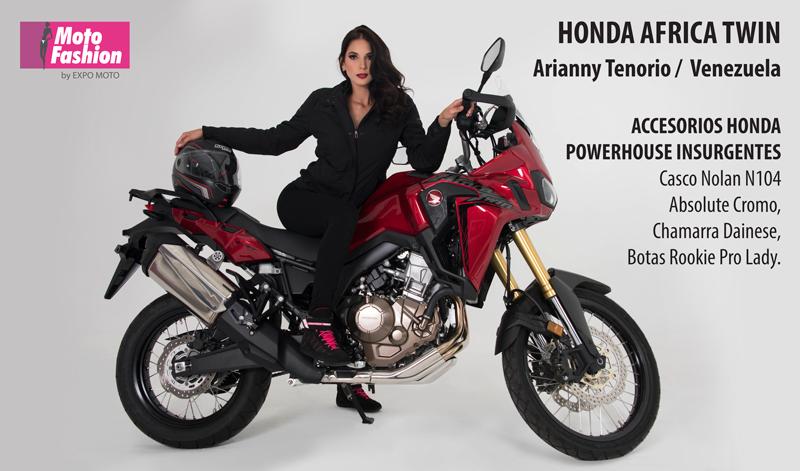 La poderosa AFRICA TWIN realza su belleza con la venezolana Arianny Tenorio, quien brillará en las pasarelas de Moto Fashion 2017