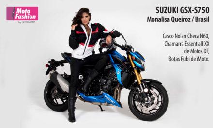 Un poderoso diseño que impone respeto: la GSX-S750 acompañada de Monalisa Queiroz