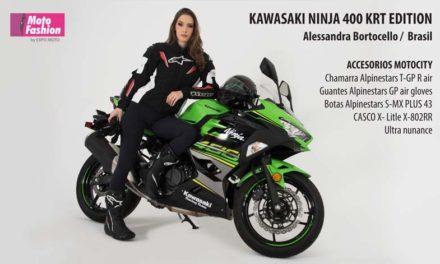 Alessandra Bortocello llega desde Brasil para lucir una impresionante Kawasaki Ninja 400 KRT Edition
