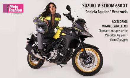 Las pasarelas de Moto Fashion se engalanan con la presencia de Daniela Aguilar, digna representante de Venezuela, y la Suzuki V-Strom 650 XT