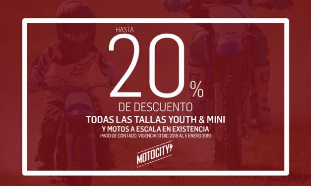 Aprovecha hasta un 20% de descuento en tallas Mini y Youth con MOTOCITY
