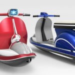 La moto acuática con forma de scooter