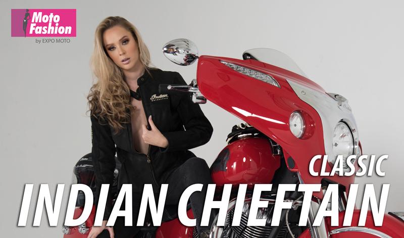La imponente Indian Chieftain Classic realza su belleza con la australiana Theresa Goddard, quien brillará en las pasarelas de Moto Fashion 2019