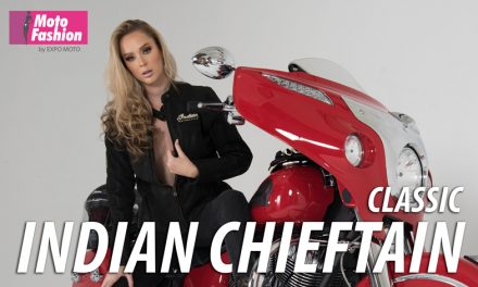 La imponente Indian Chieftain Classic realza su belleza con la australiana Theresa Goddard, quien brillará en las pasarelas de Moto Fashion 2019