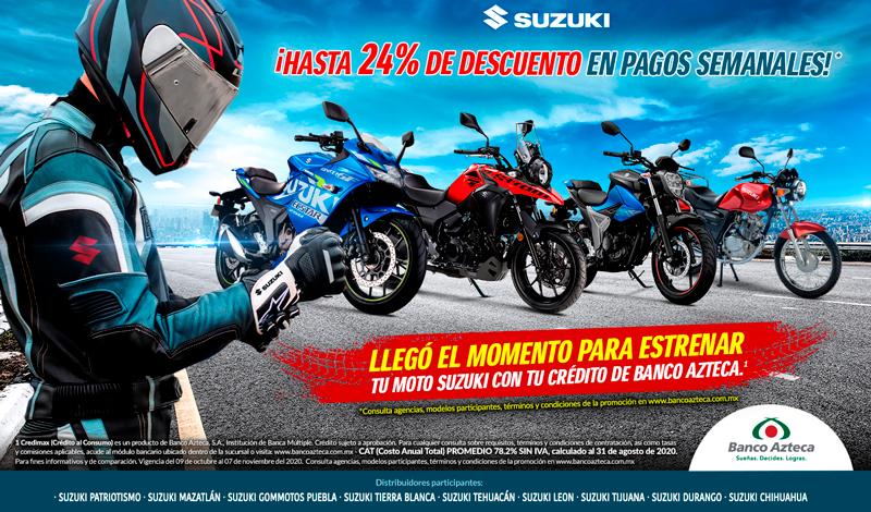 Llegó el momento de estrenar la Suzuki de tus sueños con tu crédito de Banco Azteca